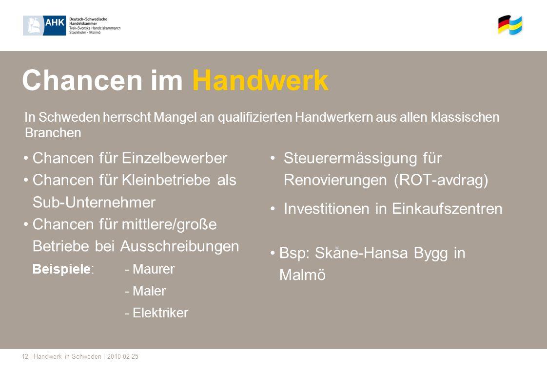 12 | Handwerk in Schweden | 2010-02-25 Chancen im Handwerk In Schweden herrscht Mangel an qualifizierten Handwerkern aus allen klassischen Branchen Ch