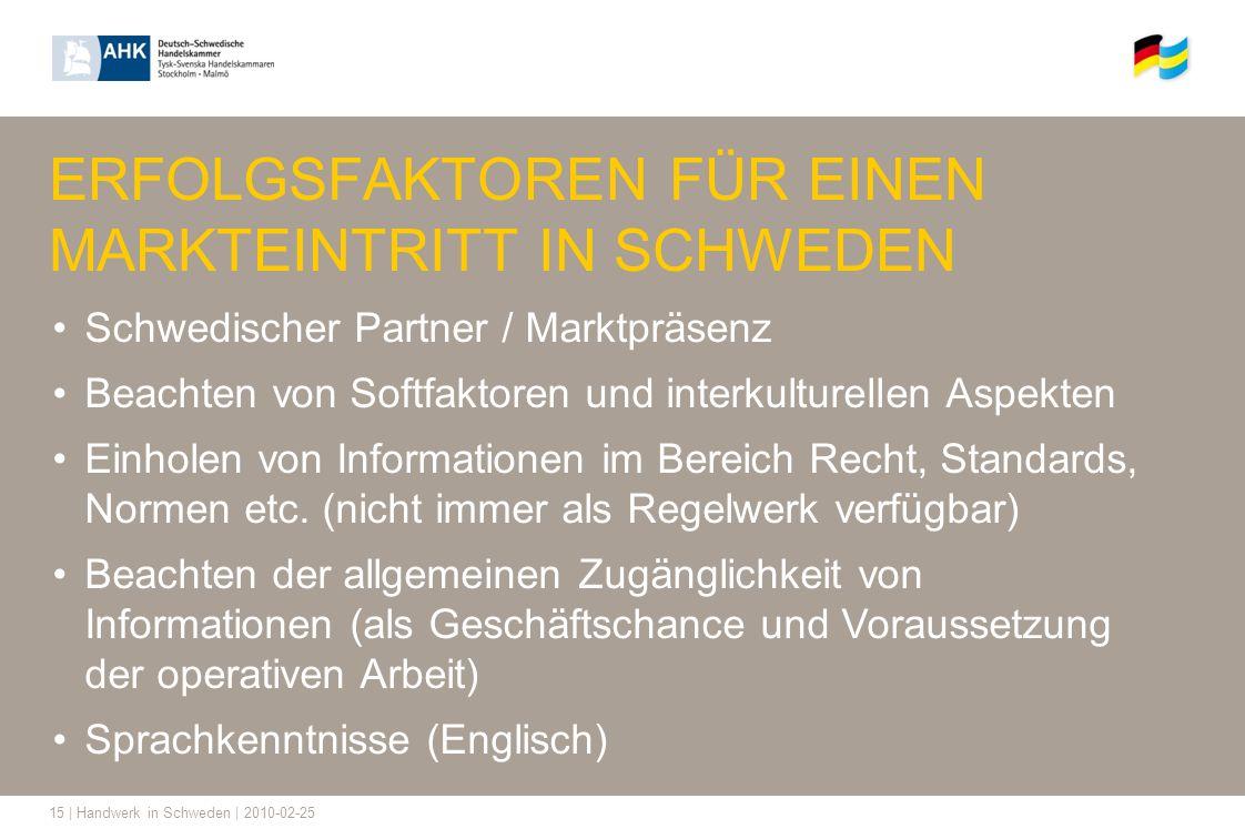 15 | Handwerk in Schweden | 2010-02-25 ERFOLGSFAKTOREN FÜR EINEN MARKTEINTRITT IN SCHWEDEN Schwedischer Partner / Marktpräsenz Beachten von Softfaktor