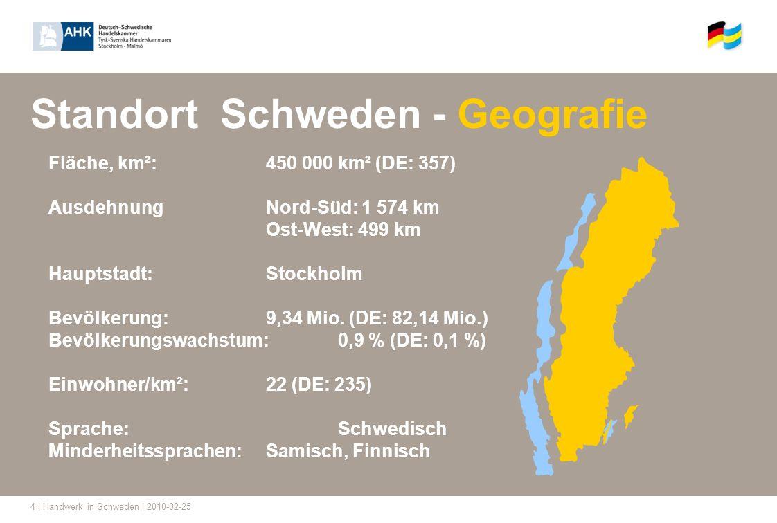 4 | Handwerk in Schweden | 2010-02-25 Standort Schweden - Geografie Fläche, km²:450 000 km² (DE: 357) Ausdehnung Nord-Süd: 1 574 km Ost-West: 499 km H