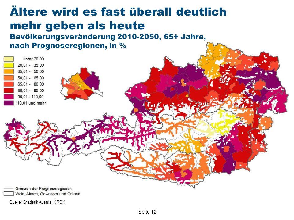 Seite 12 Quelle: Statistik Austria, ÖROK Ältere wird es fast überall deutlich mehr geben als heute Bevölkerungsveränderung 2010-2050, 65+ Jahre, nach Prognoseregionen, in %
