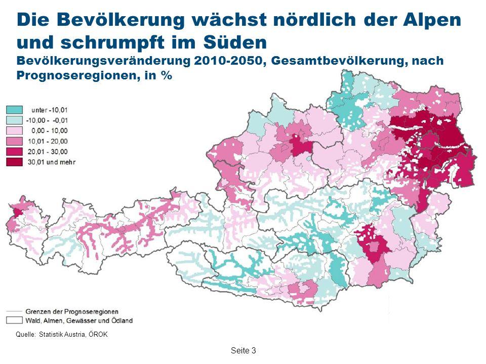 Seite 3 Quelle: Statistik Austria, ÖROK Die Bevölkerung wächst nördlich der Alpen und schrumpft im Süden Bevölkerungsveränderung 2010-2050, Gesamtbevölkerung, nach Prognoseregionen, in %