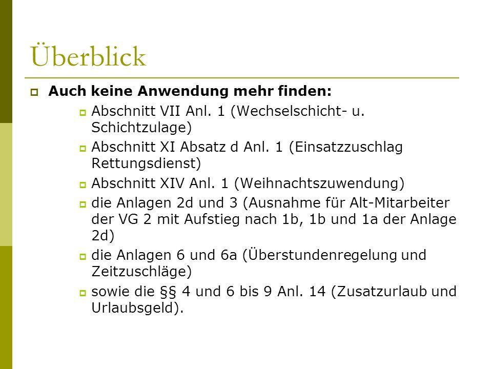 Überblick  Auch keine Anwendung mehr finden:  Abschnitt VII Anl. 1 (Wechselschicht- u. Schichtzulage)  Abschnitt XI Absatz d Anl. 1 (Einsatzzuschla