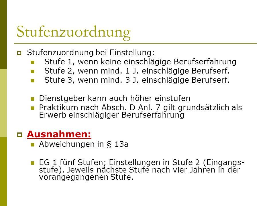 Stufenzuordnung  Stufenzuordnung bei Einstellung: Stufe 1, wenn keine einschlägige Berufserfahrung Stufe 2, wenn mind. 1 J. einschlägige Berufserf. S