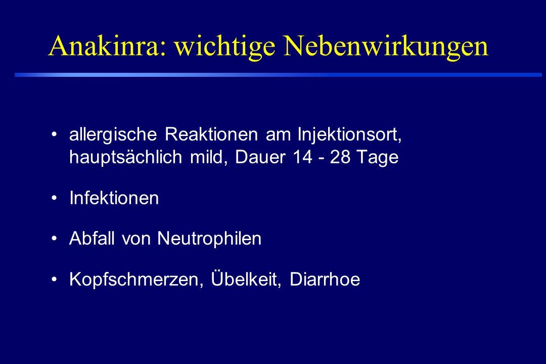 Anakinra zugelassen zur Therapie der RA rekombinante, Form des humanen Interleukin-1 Rezeptor Antagonisten hemmt die Wirkung des Entzündungsmediators IL-1 durch Rezeptorblockade auf Zielzellen Halbwertszeit 4-6 Stunden Wirkeintritt: rasch Dosis: 100 mg täglich s.c.