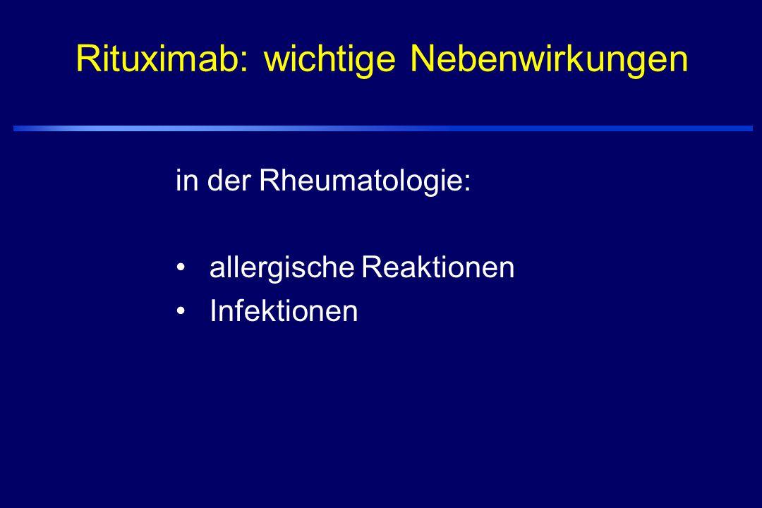 Rituximab -rekombinanter, gegen CD20 gerichteter Antikörper -zugelassen zur Therapie von CD-20-positiven Lymphomen -bindet an B-Zellen über CD20, führt zur Zell-Lyse von CD20 -Dosierung: 375 mg/qm KG wöchentlich über 4 Wochen - Wirkeintritt: nach mehreren Wochen -erste Behandlungserfolge bei RA und SLE mit Nierenbeteiligung Neue Therapien beim Sjögren-Syndrom zur Modifikation der Aktivität der Grundkrankheit