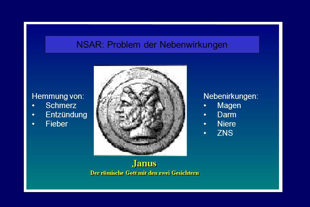 NSAR: Problem der Nebenwirkungen Hemmung von: Schmerz Entzündung Fieber Nebenirkungen: Magen Darm Niere ZNS