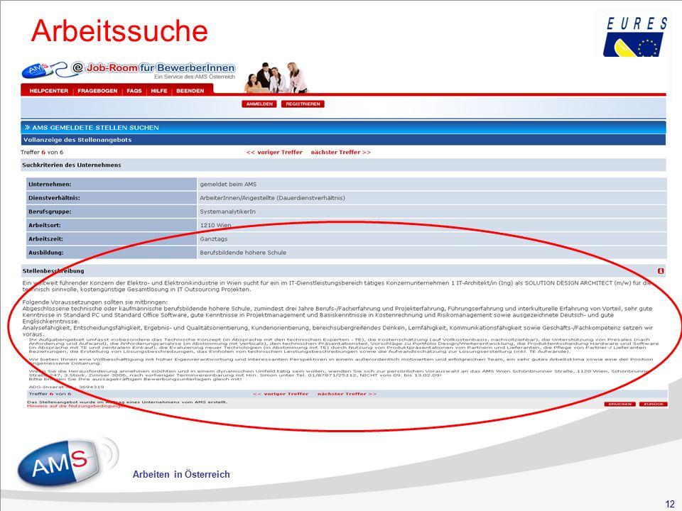 12 Arbeiten in Österreich Arbeitssuche