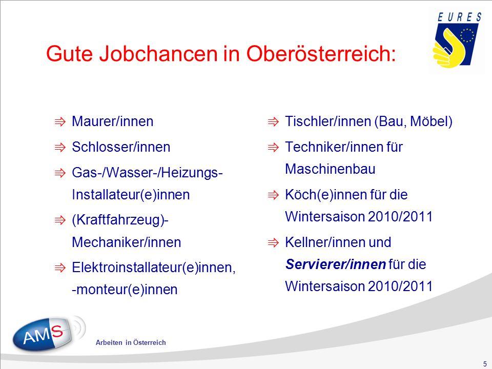 5 Gute Jobchancen in Oberösterreich: ⇛ Maurer/innen ⇛ Schlosser/innen ⇛ Gas-/Wasser-/Heizungs- Installateur(e)innen ⇛ (Kraftfahrzeug)- Mechaniker/innen ⇛ Elektroinstallateur(e)innen, -monteur(e)innen ⇛ Tischler/innen (Bau, Möbel) ⇛ Techniker/innen für Maschinenbau ⇛ Köch(e)innen für die Wintersaison 2010/2011 ⇛ Kellner/innen und Servierer/innen für die Wintersaison 2010/2011