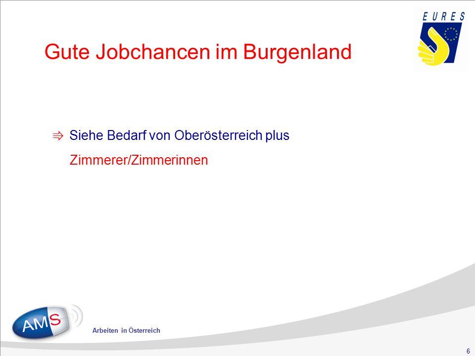 6 Arbeiten in Österreich Gute Jobchancen im Burgenland ⇛ Siehe Bedarf von Oberösterreich plus Zimmerer/Zimmerinnen