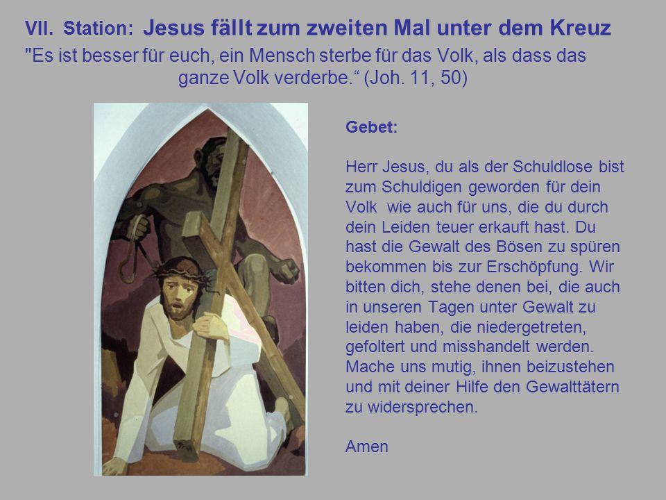VII. Station: Jesus fällt zum zweiten Mal unter dem Kreuz