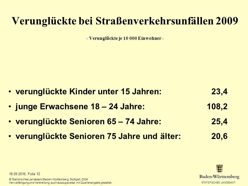 STATISTISCHES LANDESAMT 18.09.2016, Folie 12 © Statistisches Landesamt Baden-Württemberg, Stuttgart, 2008 Vervielfältigung und Verbreitung, auch auszugsweise, mit Quellenangabe gestattet.