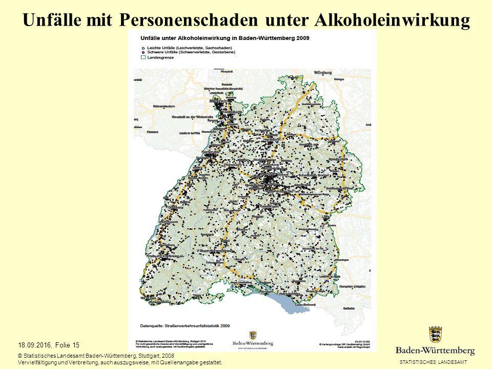 STATISTISCHES LANDESAMT 18.09.2016, Folie 15 © Statistisches Landesamt Baden-Württemberg, Stuttgart, 2008 Vervielfältigung und Verbreitung, auch auszugsweise, mit Quellenangabe gestattet.