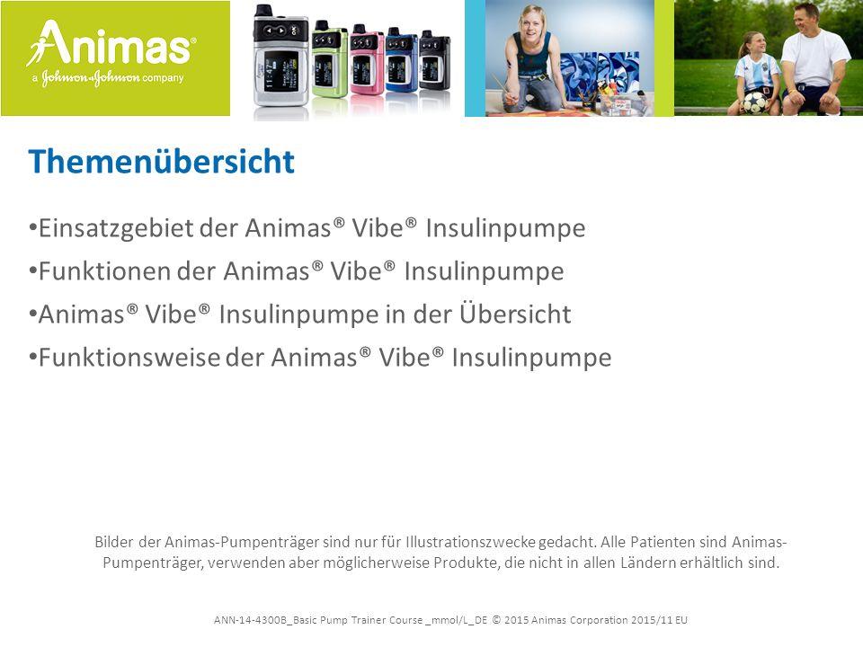 """ANN-14-4300B_Basic Pump Trainer Course _mmol/L_DE © 2015 Animas Corporation 2015/11 EU Animas® Vibe® Insulinpumpe Insulin an Bord Funktion, die noch in Ihrem Körper vorhandenes Insulin aufzeichnet –Berechnet eine reduzierte Bolusmenge und hilft dabei, dem """"Insulin-Stacking (additive Insulindosen) und der Hypoglykämie vorzubeugen –Anpassbare Dauer (jeder Patient verwendet Insulin etwas anders)"""