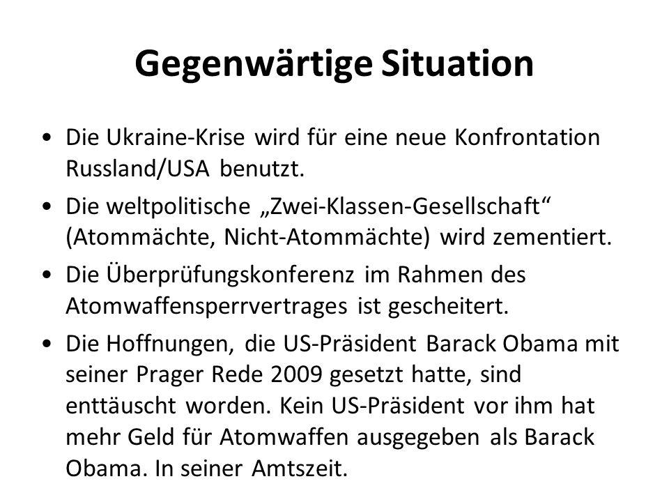 Gegenwärtige Situation Die Ukraine-Krise wird für eine neue Konfrontation Russland/USA benutzt.