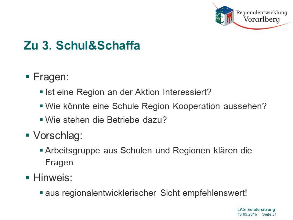 Zu 3. Schul&Schaffa  Fragen:  Ist eine Region an der Aktion Interessiert.