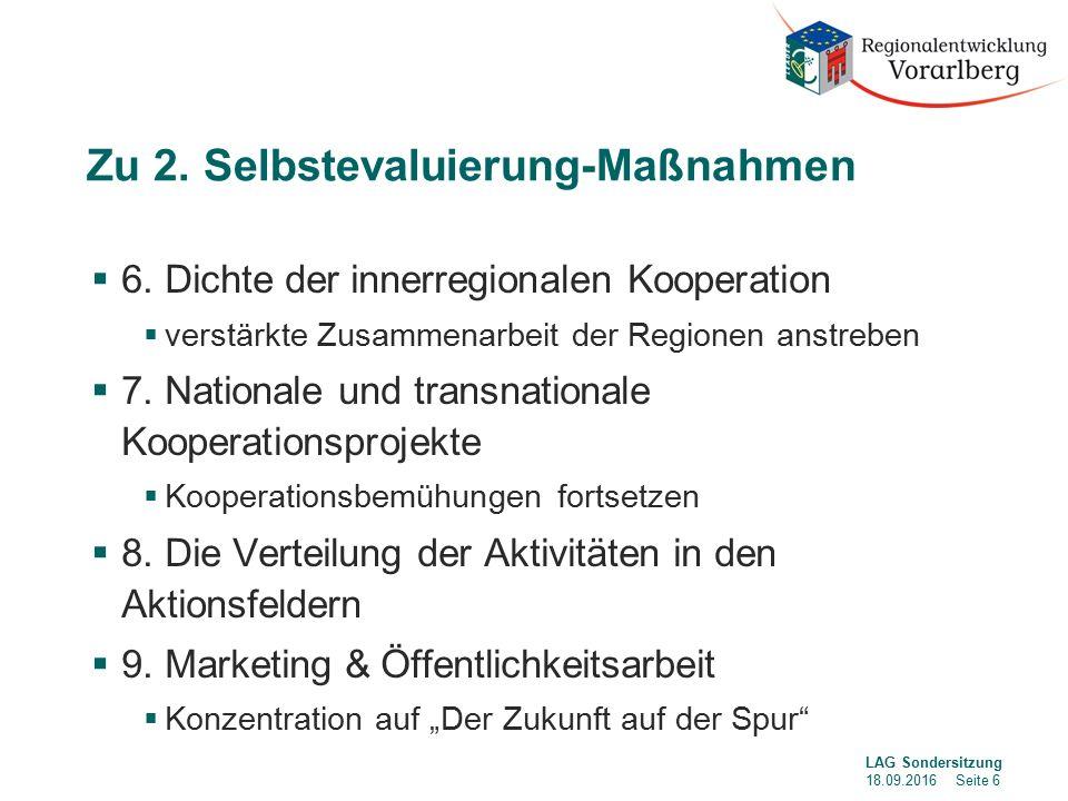 Zu 2. Selbstevaluierung-Maßnahmen  6.