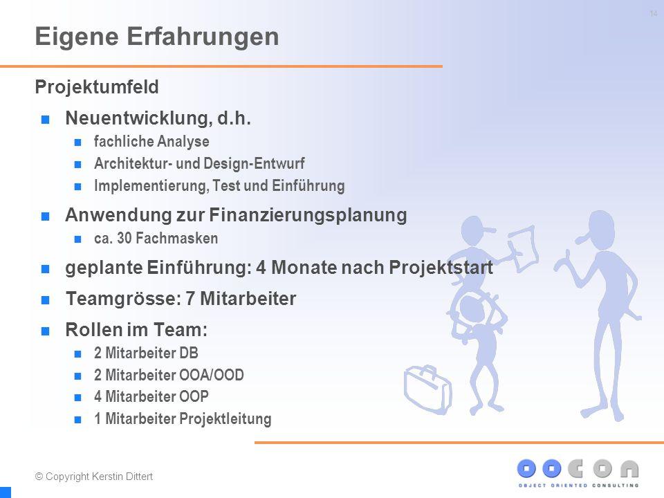 14 Eigene Erfahrungen Neuentwicklung, d.h. fachliche Analyse Architektur- und Design-Entwurf Implementierung, Test und Einführung Anwendung zur Finanz