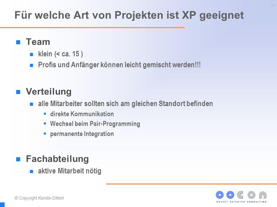 19 Für welche Art von Projekten ist XP geeignet Team klein (< ca. 15 ) Profis und Anfänger können leicht gemischt werden!!! Verteilung alle Mitarbeite