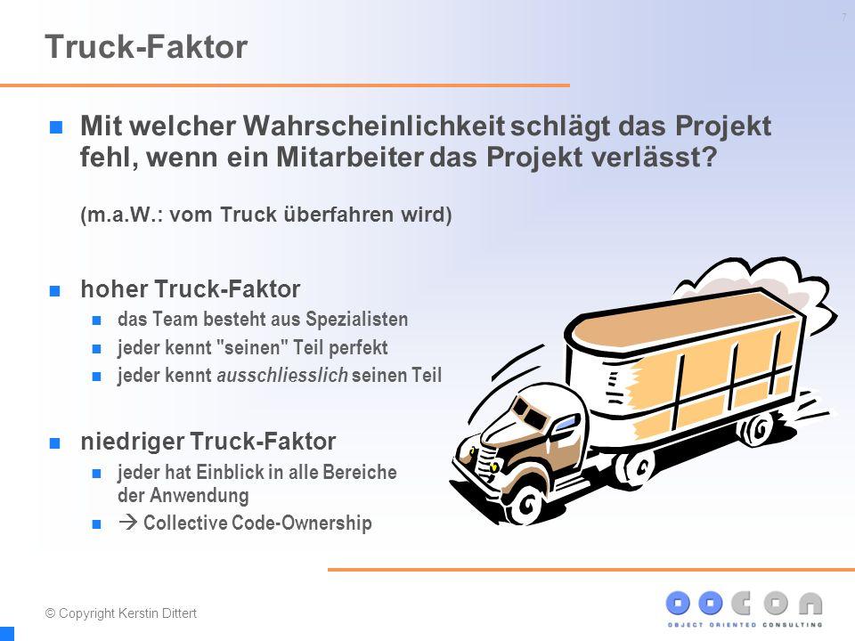 7 Mit welcher Wahrscheinlichkeit schlägt das Projekt fehl, wenn ein Mitarbeiter das Projekt verlässt? (m.a.W.: vom Truck überfahren wird) hoher Truck-