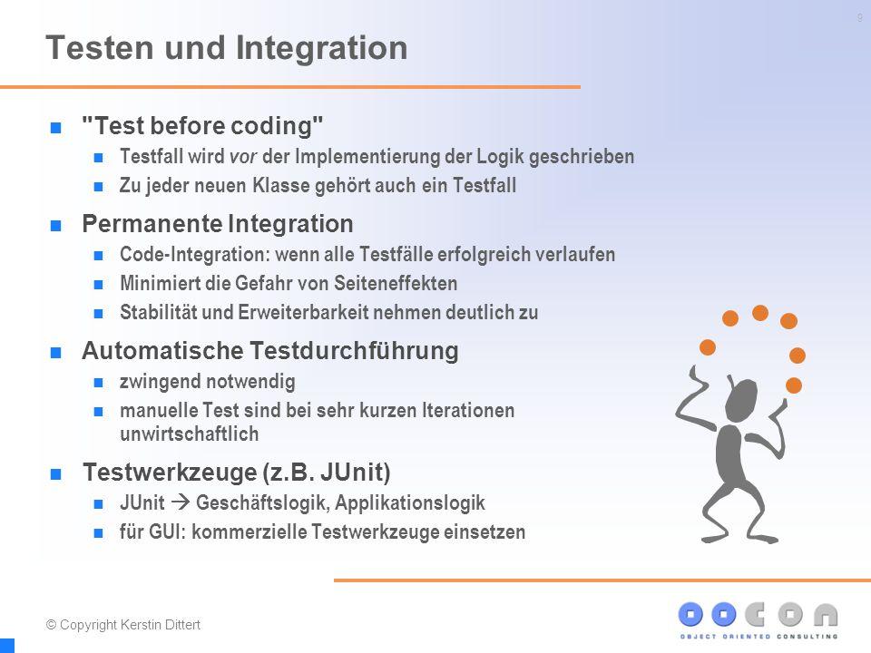 20 Einsatz der Methode Je mehr, desto besser möglichst alle Elemente gemeinsam einsetzen manche Methoden erzwingen den Einsatz einer weiteren Beispiel: Permanente Integration ohne automatische Tests  unmöglich.