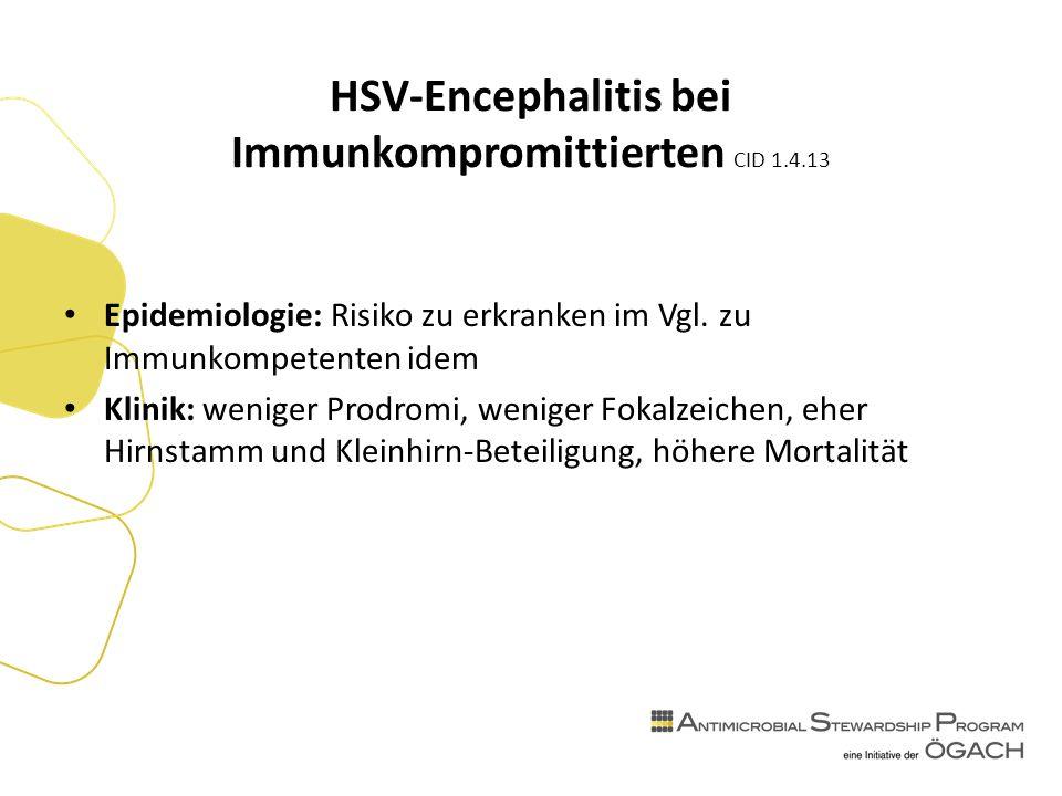 HSV-Encephalitis bei Immunkompromittierten CID 1.4.13 Epidemiologie: Risiko zu erkranken im Vgl.