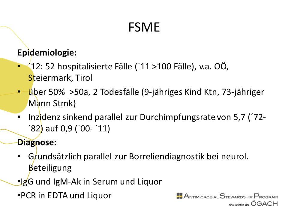 FSME Epidemiologie: ´12: 52 hospitalisierte Fälle (´11 >100 Fälle), v.a.
