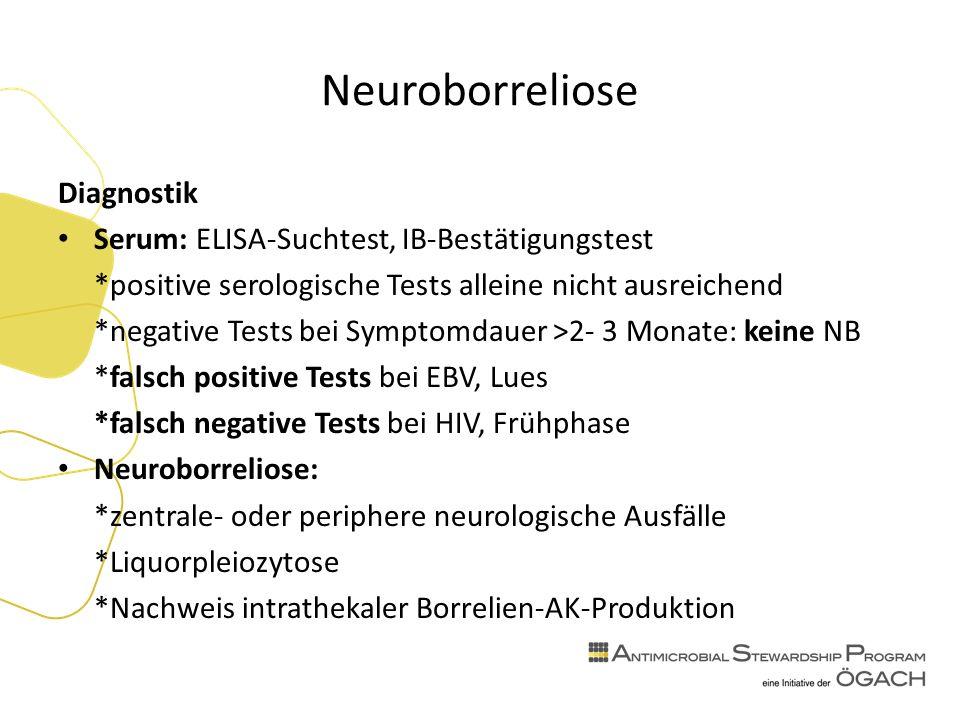 Neuroborreliose Diagnostik Serum: ELISA-Suchtest, IB-Bestätigungstest *positive serologische Tests alleine nicht ausreichend *negative Tests bei Symptomdauer >2- 3 Monate: keine NB *falsch positive Tests bei EBV, Lues *falsch negative Tests bei HIV, Frühphase Neuroborreliose: *zentrale- oder periphere neurologische Ausfälle *Liquorpleiozytose *Nachweis intrathekaler Borrelien-AK-Produktion