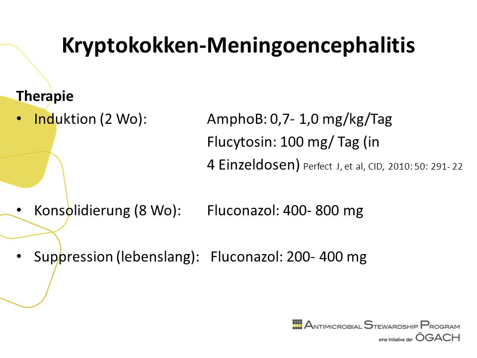 Kryptokokken-Meningoencephalitis Therapie Induktion (2 Wo): AmphoB: 0,7- 1,0 mg/kg/Tag Flucytosin: 100 mg/ Tag (in 4 Einzeldosen) Perfect J, et al, CID, 2010: 50: Konsolidierung (8 Wo):Fluconazol: mg Suppression (lebenslang): Fluconazol: mg