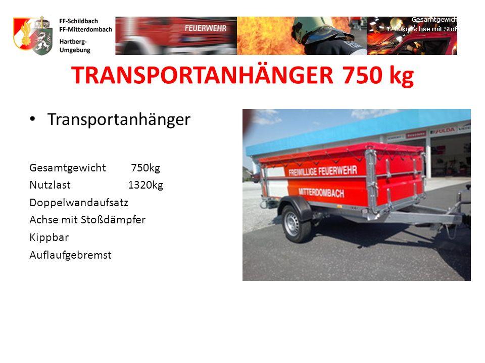 TS-ANHÄNGER MIT TS12 FOX ROSENBAUER Kofferanhänger Gesamtgewicht: 750 kg, Kugelgelagerte Auszugschiene für TS Gesamte Ausstattung wie KLF TS 12 FOX Ro