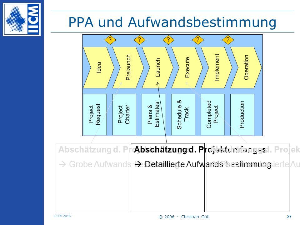 © 2006 - Christian Gütl 18.09.2016 27 PPA und Aufwandsbestimmung Abschätzung d.