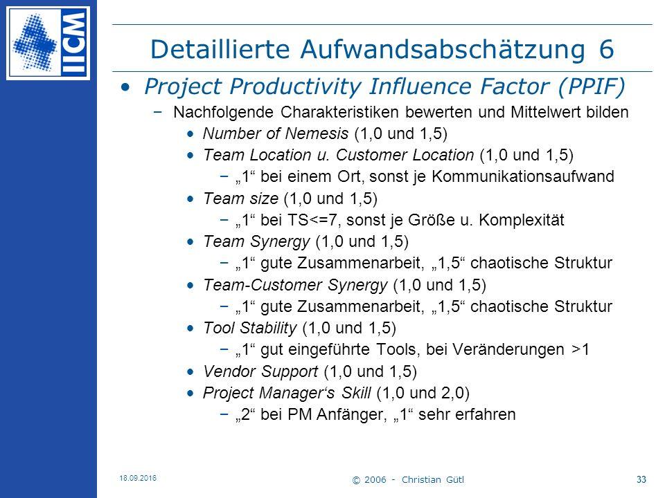 © 2006 - Christian Gütl 18.09.2016 33 Detaillierte Aufwandsabschätzung 6 Project Productivity Influence Factor (PPIF) –Nachfolgende Charakteristiken bewerten und Mittelwert bilden Number of Nemesis (1,0 und 1,5) Team Location u.