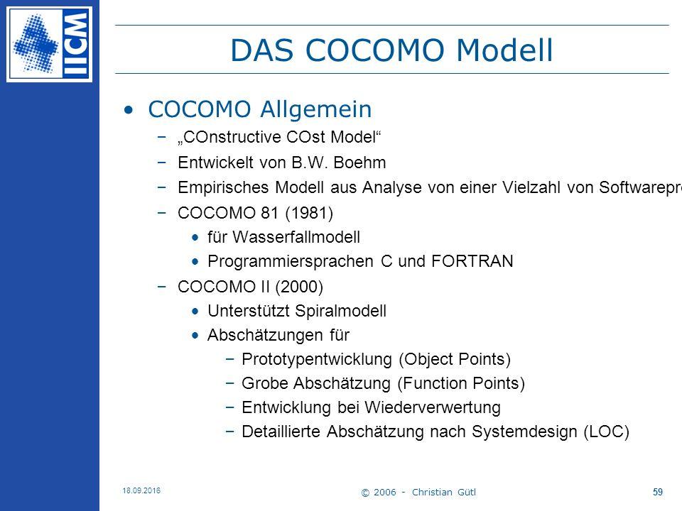 "© 2006 - Christian Gütl 18.09.2016 59 DAS COCOMO Modell COCOMO Allgemein –""COnstructive COst Model –Entwickelt von B.W."