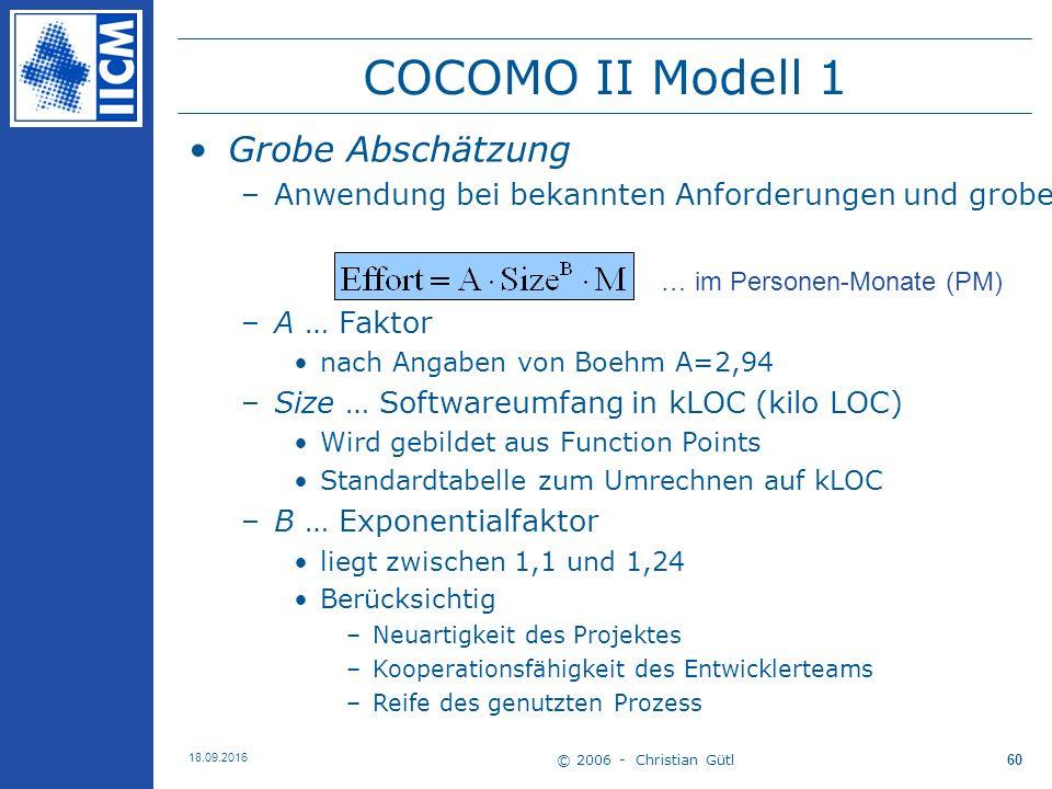 © 2006 - Christian Gütl 18.09.2016 60 COCOMO II Modell 1 Grobe Abschätzung –Anwendung bei bekannten Anforderungen und groben Architekturdesign –A … Faktor nach Angaben von Boehm A=2,94 –Size … Softwareumfang in kLOC (kilo LOC) Wird gebildet aus Function Points Standardtabelle zum Umrechnen auf kLOC –B … Exponentialfaktor liegt zwischen 1,1 und 1,24 Berücksichtig –Neuartigkeit des Projektes –Kooperationsfähigkeit des Entwicklerteams –Reife des genutzten Prozess … im Personen-Monate (PM)