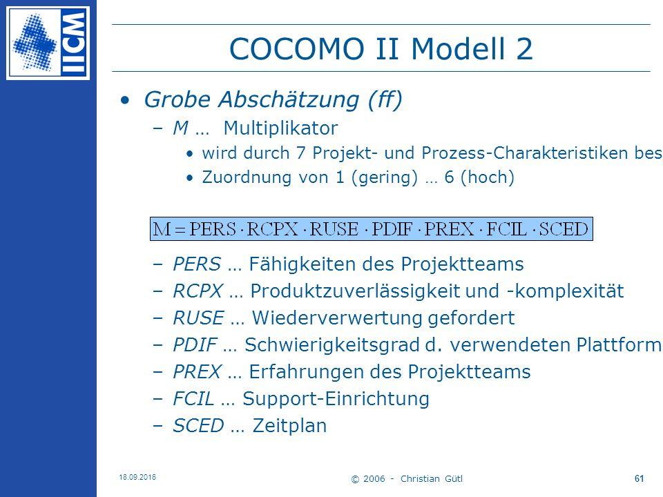 © 2006 - Christian Gütl 18.09.2016 61 COCOMO II Modell 2 Grobe Abschätzung (ff) –M … Multiplikator wird durch 7 Projekt- und Prozess-Charakteristiken bestimmt Zuordnung von 1 (gering) … 6 (hoch) –PERS … Fähigkeiten des Projektteams –RCPX … Produktzuverlässigkeit und -komplexität –RUSE … Wiederverwertung gefordert –PDIF … Schwierigkeitsgrad d.