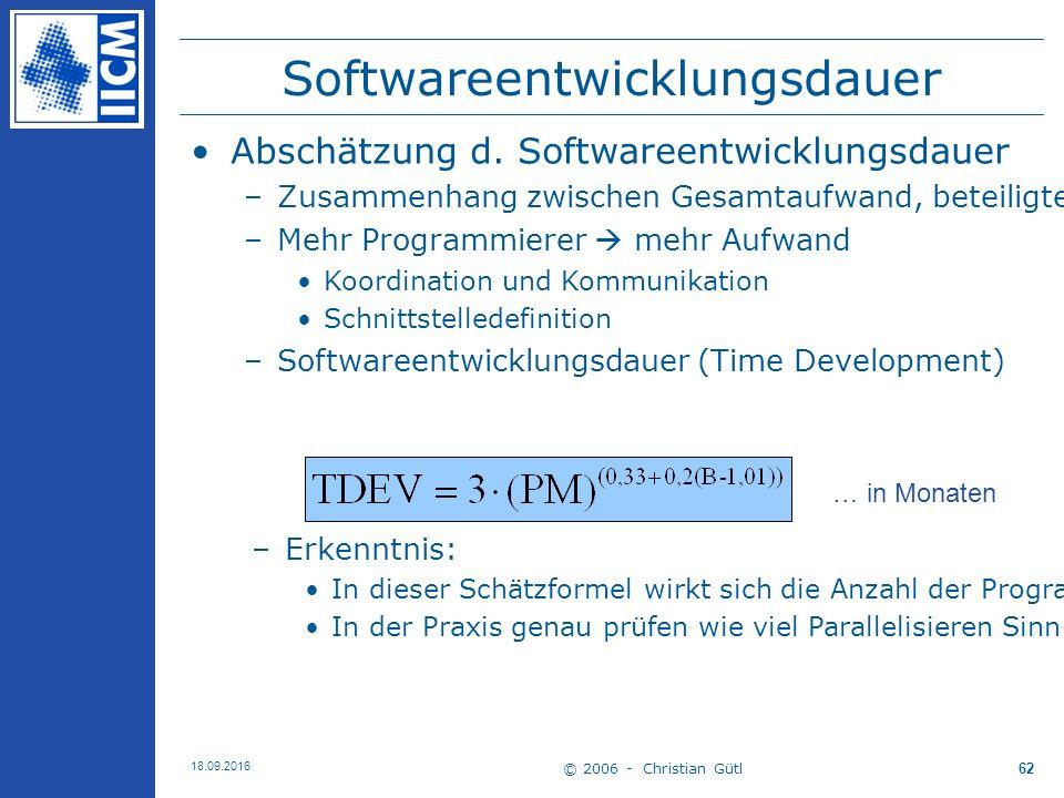 © 2006 - Christian Gütl 18.09.2016 62 Softwareentwicklungsdauer Abschätzung d.