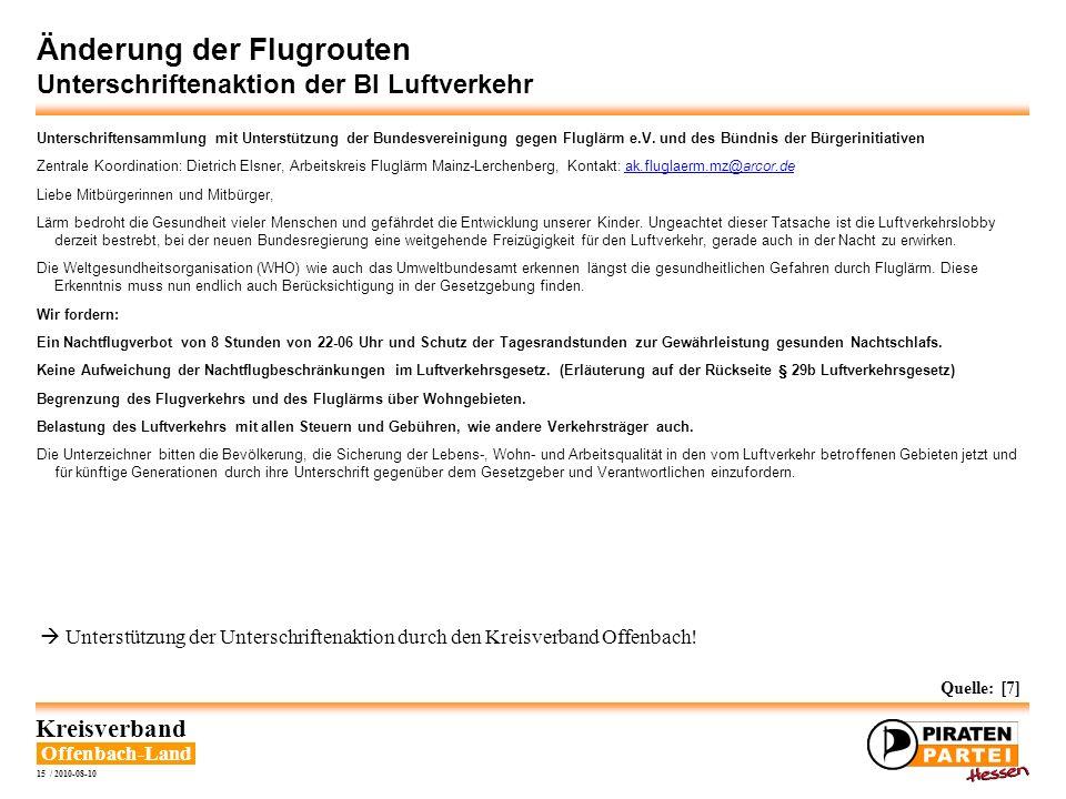 Offenbach-Land Kreisverband 15 / 2010-08-10 Änderung der Flugrouten Unterschriftenaktion der BI Luftverkehr Unterschriftensammlung mit Unterstützung d