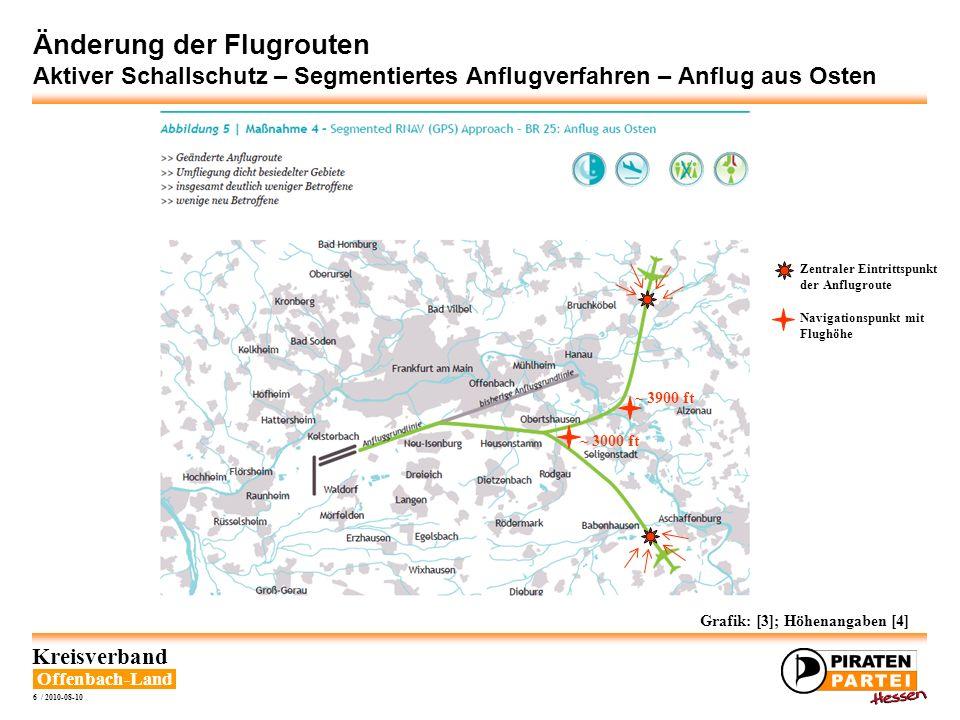 Offenbach-Land Kreisverband 7 / 2010-08-10 Änderung der Flugrouten Aktiver Schallschutz – Segmentiertes Anflugverfahren – Anflug aus Westen Grafik: [3]