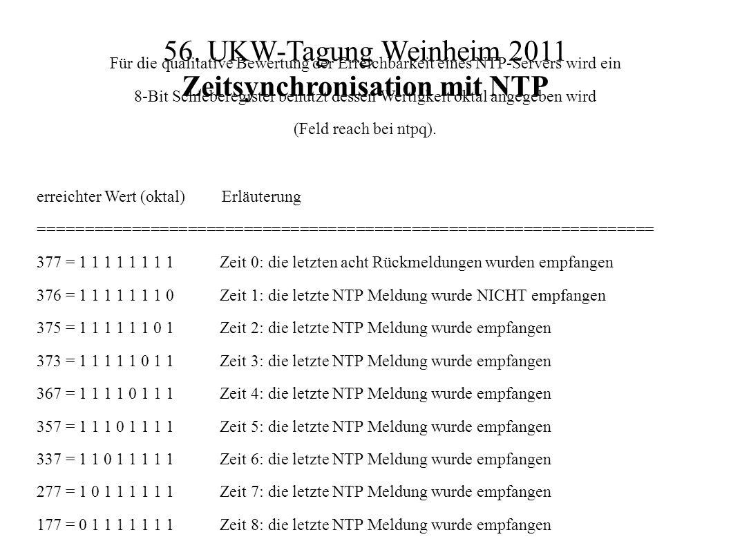 56. UKW-Tagung Weinheim 2011 Zeitsynchronisation mit NTP Für die qualitative Bewertung der Erreichbarkeit eines NTP-Servers wird ein 8-Bit Schieberegi