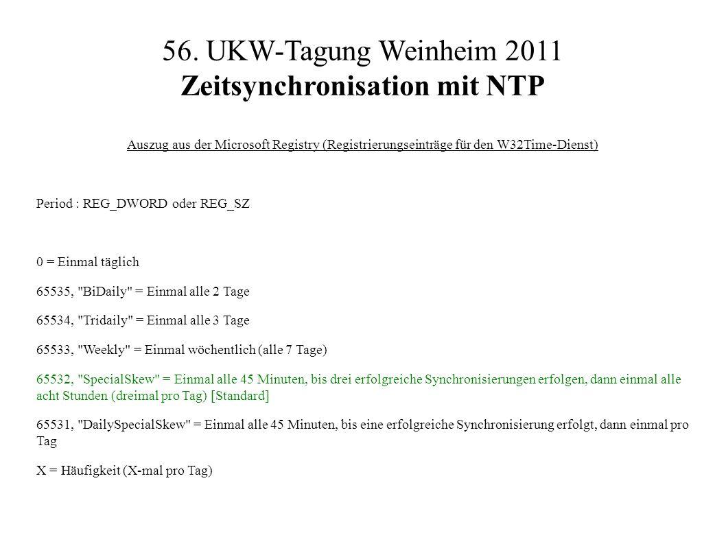 56. UKW-Tagung Weinheim 2011 Zeitsynchronisation mit NTP Auszug aus der Microsoft Registry (Registrierungseinträge für den W32Time-Dienst) Period : RE