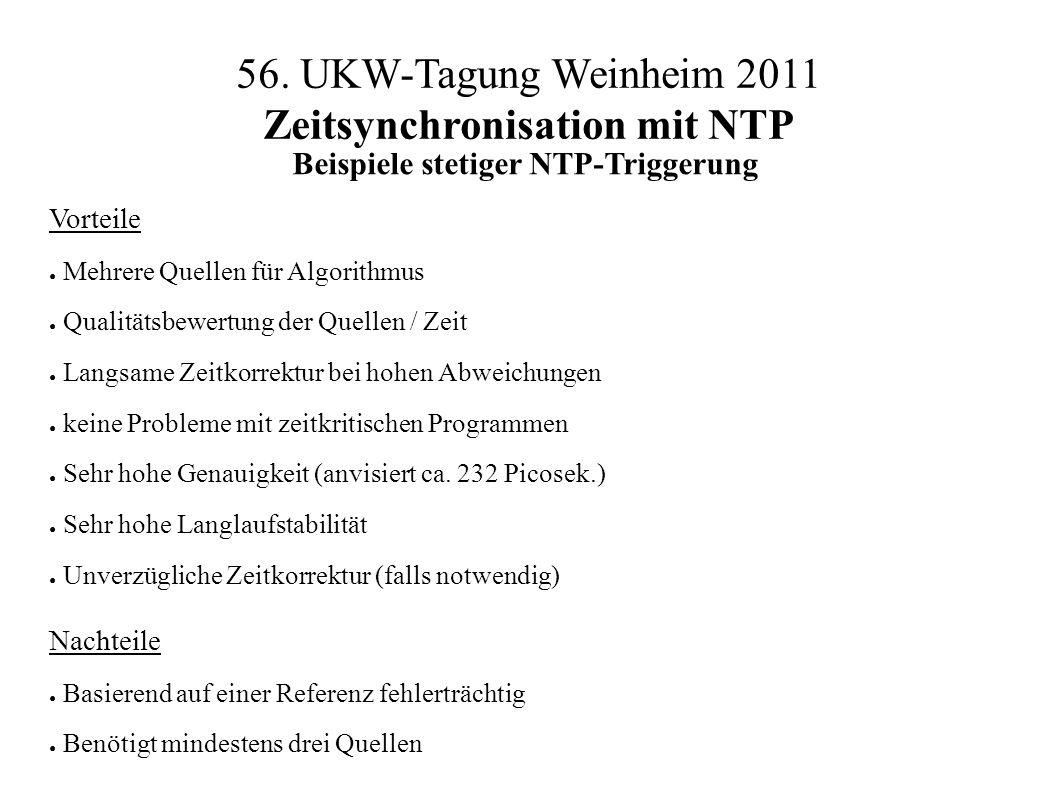 56. UKW-Tagung Weinheim 2011 Zeitsynchronisation mit NTP Beispiele stetiger NTP-Triggerung Vorteile ● Mehrere Quellen für Algorithmus ● Qualitätsbewer