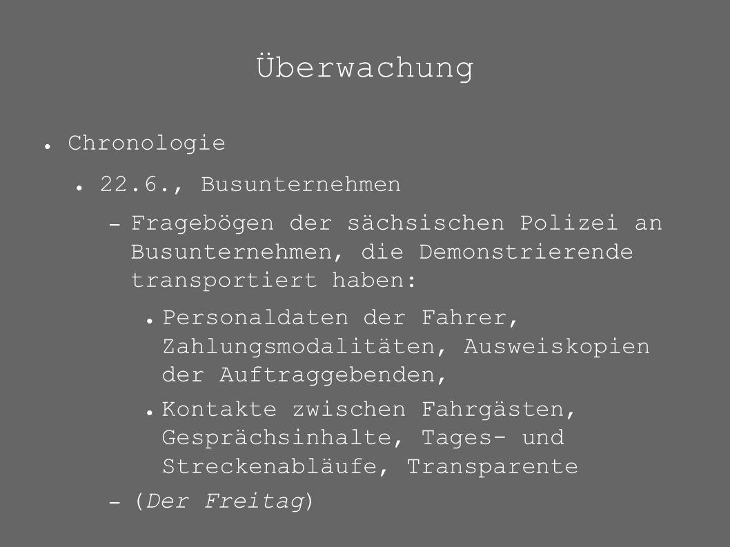 Überwachung ● Chronologie ● 22.6., Busunternehmen – Fragebögen der sächsischen Polizei an Busunternehmen, die Demonstrierende transportiert haben: ● P