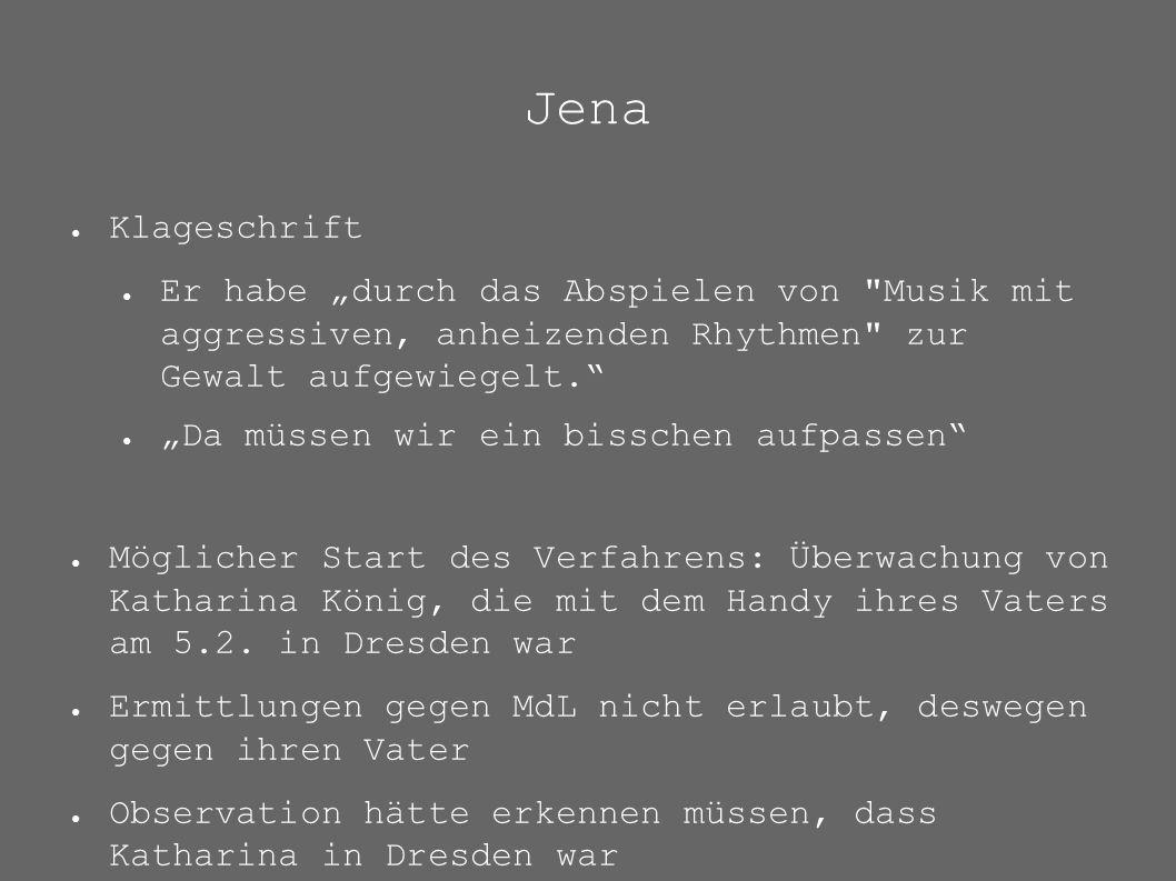 """Jena ● Klageschrift ● Er habe """"durch das Abspielen von"""