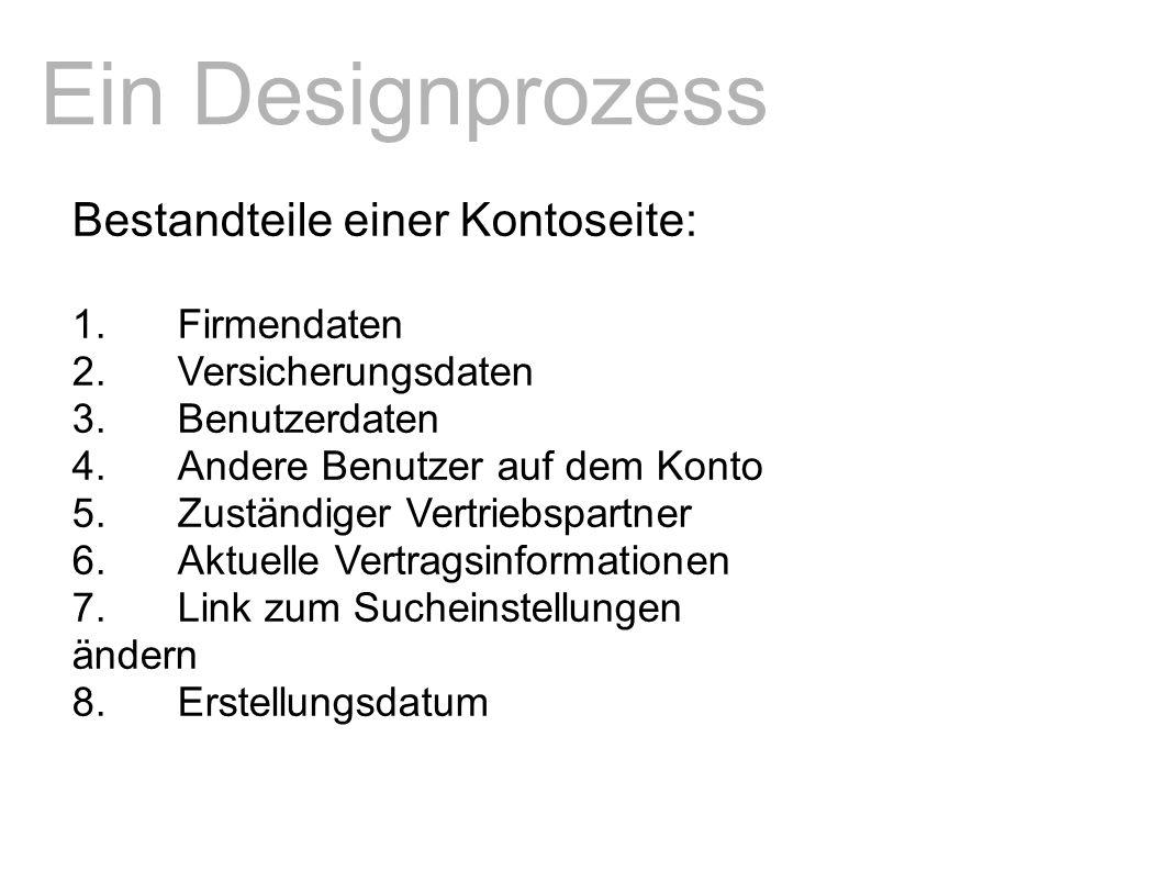 Ein Designprozess Bestandteile einer Kontoseite: 1.Firmendaten 2.Versicherungsdaten 3.Benutzerdaten 4.Andere Benutzer auf dem Konto 5.Zuständiger Vertriebspartner 6.Aktuelle Vertragsinformationen 7.Link zum Sucheinstellungen ändern 8.Erstellungsdatum