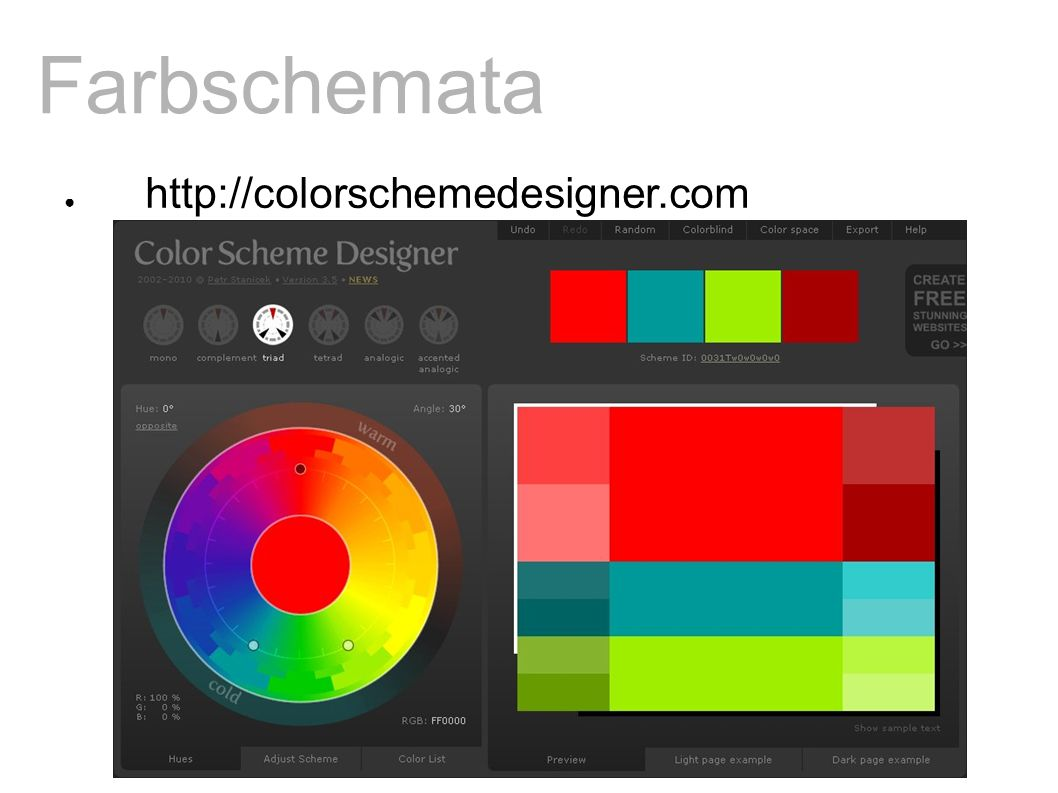 Farbschemata ● http://colorschemedesigner.com