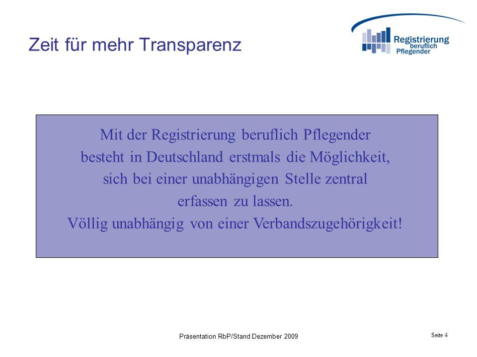 Seite 15 Präsentation RbP/Stand Dezember 2009 1.Re-Registrierung 2.