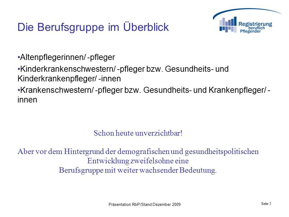 Seite 5 Präsentation RbP/Stand Dezember 2009 Die Berufsgruppe im Überblick Altenpflegerinnen/ -pfleger Kinderkrankenschwestern/ -pfleger bzw.