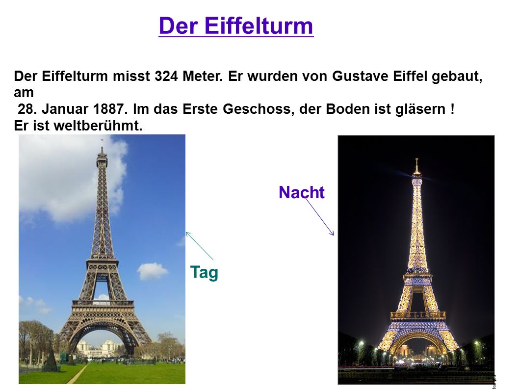 Der Eiffelturm Nacht Tag Der Eiffelturm misst 324 Meter. Er wurden von Gustave Eiffel gebaut, am 28. Januar 1887. Im das Erste Geschoss, der Boden ist
