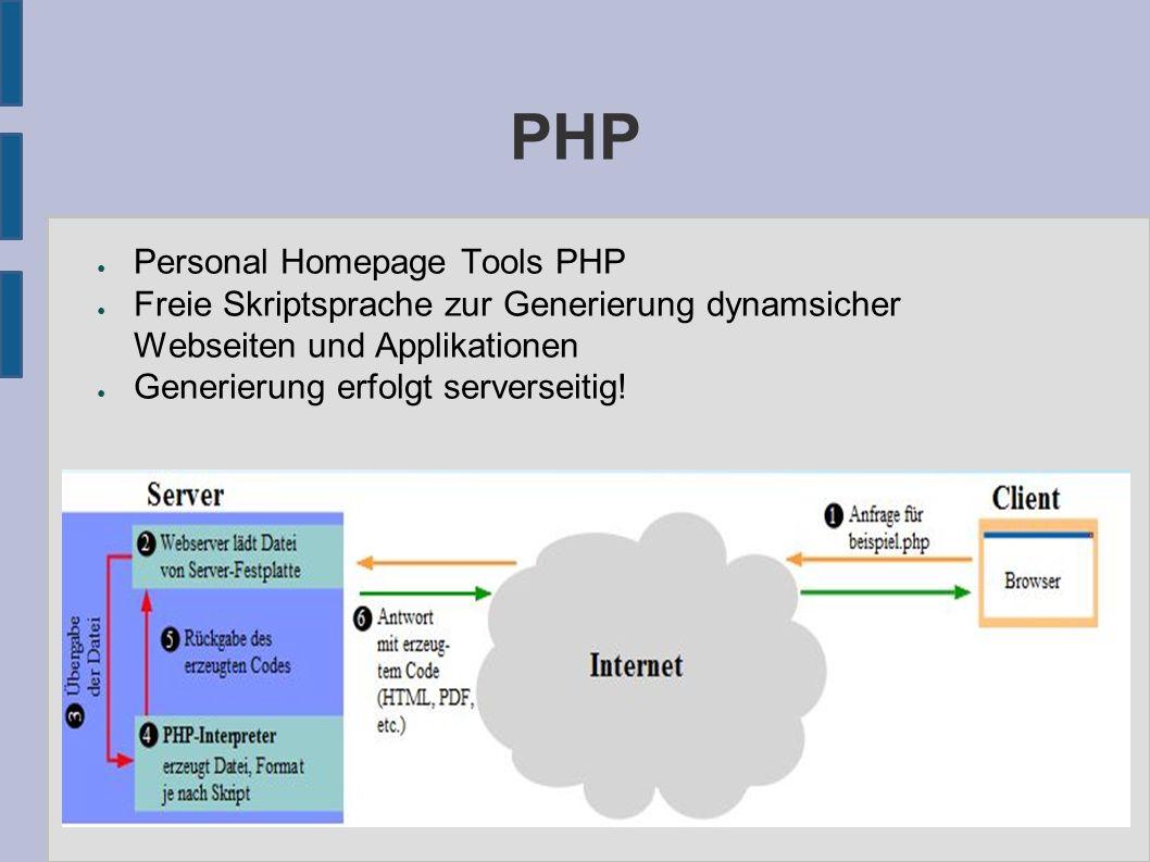 PHP ● Personal Homepage Tools PHP ● Freie Skriptsprache zur Generierung dynamsicher Webseiten und Applikationen ● Generierung erfolgt serverseitig!