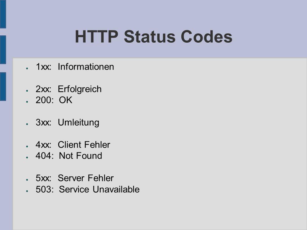 HTTP Status Codes ● 1xx: Informationen ● 2xx: Erfolgreich ● 200: OK ● 3xx: Umleitung ● 4xx: Client Fehler ● 404: Not Found ● 5xx: Server Fehler ● 503: Service Unavailable