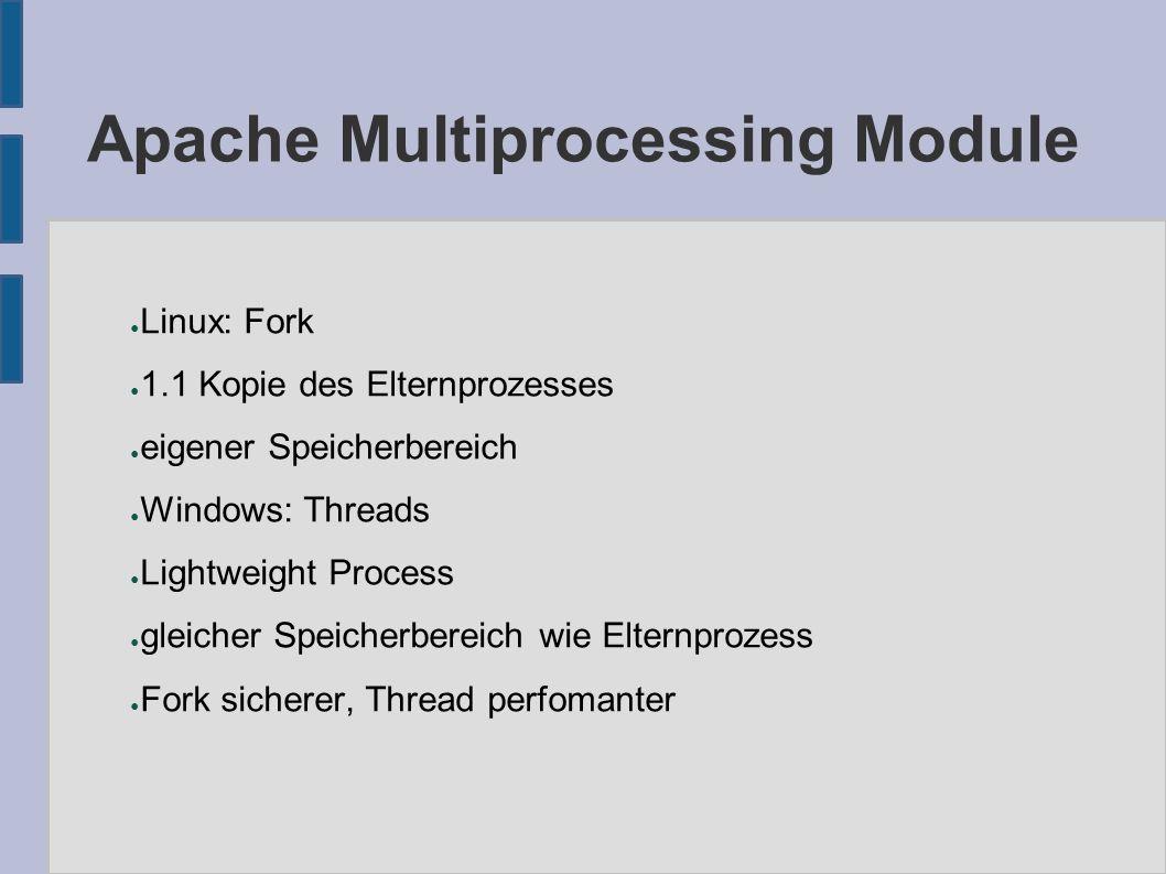 Apache Multiprocessing Module ● Linux: Fork ● 1.1 Kopie des Elternprozesses ● eigener Speicherbereich ● Windows: Threads ● Lightweight Process ● gleicher Speicherbereich wie Elternprozess ● Fork sicherer, Thread perfomanter